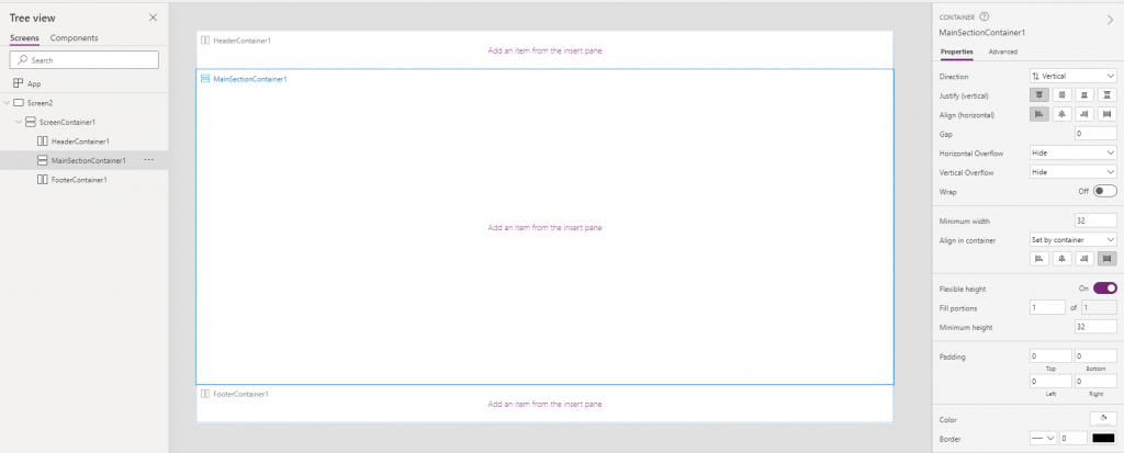 responsive screen layout in powerapps